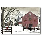 Courtside Market Christmas Red Barn Canvas Wall Art