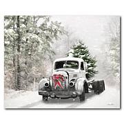Courtside Market Snowy Christmas Truck Canvas Wall Art