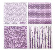 """Crafter's Companion 6"""" x 6"""" Background Emboss Folders - Set of 4"""