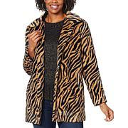 Democracy Animal Patterned Faux Fur Coat