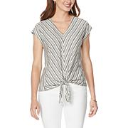 Democracy Striped Knit Tie-Front Top