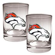 Denver Broncos 2pc Rocks Glass Set