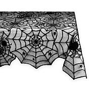 Design Imports Black Spider Web Lace Tablecloth 54-inch by 72-inch