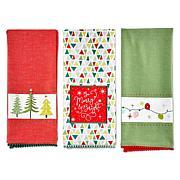 Design Imports Festive Christmas Kitchen Towels Set of 3