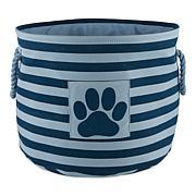 Design Imports Polyester Pet Bin Stripe Paw Patch Round