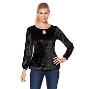DG2 by Diane Gilman Crushed Velvet Keyhole Top