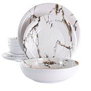 Elama Fine Sculpture 12-Piece Lightweight Melamine Dinnerware Set-WHT