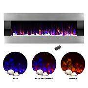 Electric Fireplace Wall Mount LED Flame - 54 quot; Stainless Steel