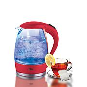 Elite Platinum Cordless 1.7-Liter Glass Kettle - Red