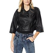 G by Giuliana Black Label Faux Leather Cropped Jacket