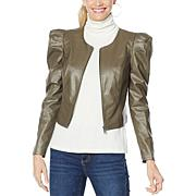 G by Giuliana Black Label Puff-Sleeve Faux Leather Jacket