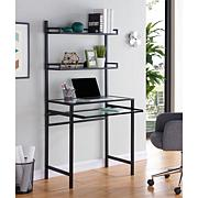 Gemma Metal/Glass Small-Space Desk with Hutch - Black