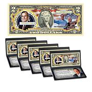 George H.W. Bush Commemorative Colorized $2 Bill - Set of 5