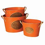 Gerson Company Set of 3 Nested Orange Metal Buckets