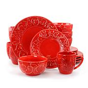 Gibson Calipso 16 Piece Dinnerware Set in Red