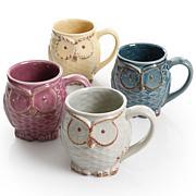 Gibson Home Hooting Owl 4-piece 18 oz. Mug Set