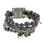 """Good Work(s) """"Be the Light That Shines"""" Beaded Leather 4-Row Bracelet"""