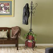 Hall Tree with Rattan Storage - Black