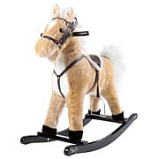 Happy Trails Brown Plush Rocking Horse on Wooden Rockers with Sounds