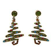"""Heidi Daus """"Oh Christmas Tree"""" Crystal Drop Earrings"""