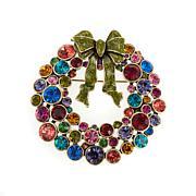 """Heidi Daus """"Ravishing Wreath"""" Enamel and Crystal Pin"""