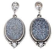 Himalayan Gems™ Caribbean Blue Drusy and White Topaz Oval Earrings