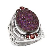 Himalayan Gems™ Copper Pink Drusy and Garnet  Ring