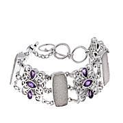 "Himalayan Gems™ White Drusy and Amethyst 7"" Link Bracelet"