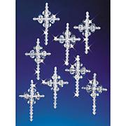 "Holiday Beaded Ornament Kit - Crystal Crosses 2"", Makes 24"