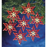"Holiday Beaded Ornament Kit - Poinsettias 3.5"", Makes 6"