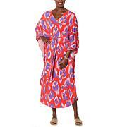 IMAN Global Chic Cheetah Print Stretch Knit Caftan Dress