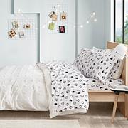 Intelligent Design Cotton Flannel Sheet Set - Blue Penguins