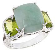 Jade of Yesteryear Jade and Gemstone Cushion-Cut 3-Stone Ring