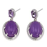 Jade of Yesteryear Purple Jade and Amethyst Drop Earrings