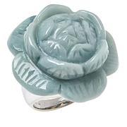 Jade of Yesteryear Sterling Silver Jade Carved Flower Ring