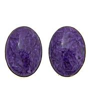 Jay King Oval Charoite Sterling Silver Stud Earrings
