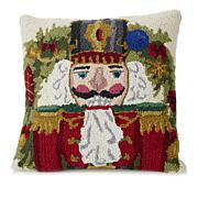 Jeffrey Banks Nutcracker Decorative Hand-Hooked Wool Pillow
