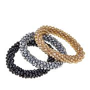 JK NY Beaded Set of 3 Stretch Bracelets/Hair Ties