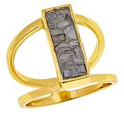 Joya White Deco Crushed Diamond Rectangular Ring