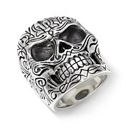 King Baby Jewelry Men's Pinstripe Skull Ring