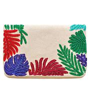 La Regale Multicolored Embellished Bead Envelope Clutch