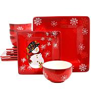 Laurie Gates Snappy Snowman 12 Piece Ceramic Dinnerware Set