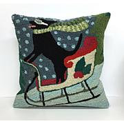 "Liora Manne Frontporch Sledding Dog 18"" Pillow"