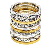 LiPaz 10-piece Sterling Silver and Gold-Plated Stackable Rings
