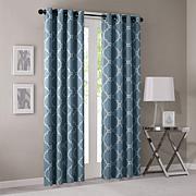 Madison Park Fretwork Print BlueWindow Curtain