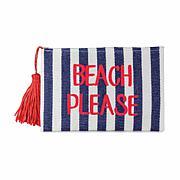 Magid Beach Please Slogan Insulated Straw Clutch