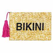 Magid Bikini Metallic Slogan Insulated Straw Clutch