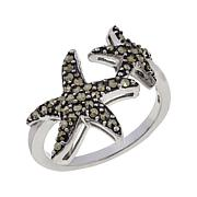 Marcasite Sterling Silver Double Starfish Ring