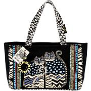 Medium Spotted Cats Tote with Zipper