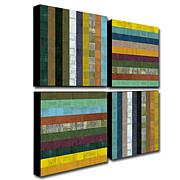 "Michelle Calkins ""Wooden Abstract V"" Giclée-Print Set"